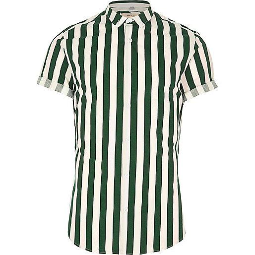 Dark green stripe short sleeve slim fit shirt