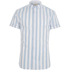 Blue stripe muscle fit short sleeve shirt