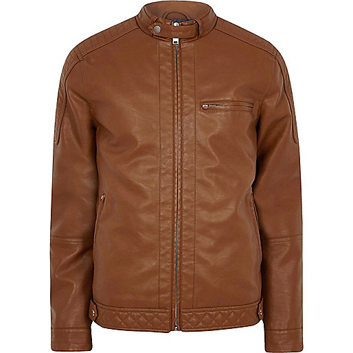 Tan faux leather racer jacket