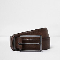 Brown vintage style rectangle buckle belt