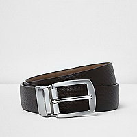 Brown textured reversible belt