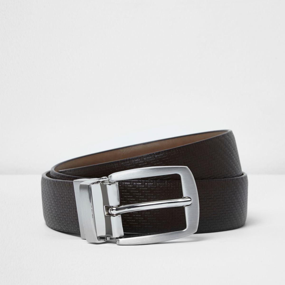 Brown textured reversible belt