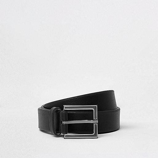 Black enamel square buckle belt