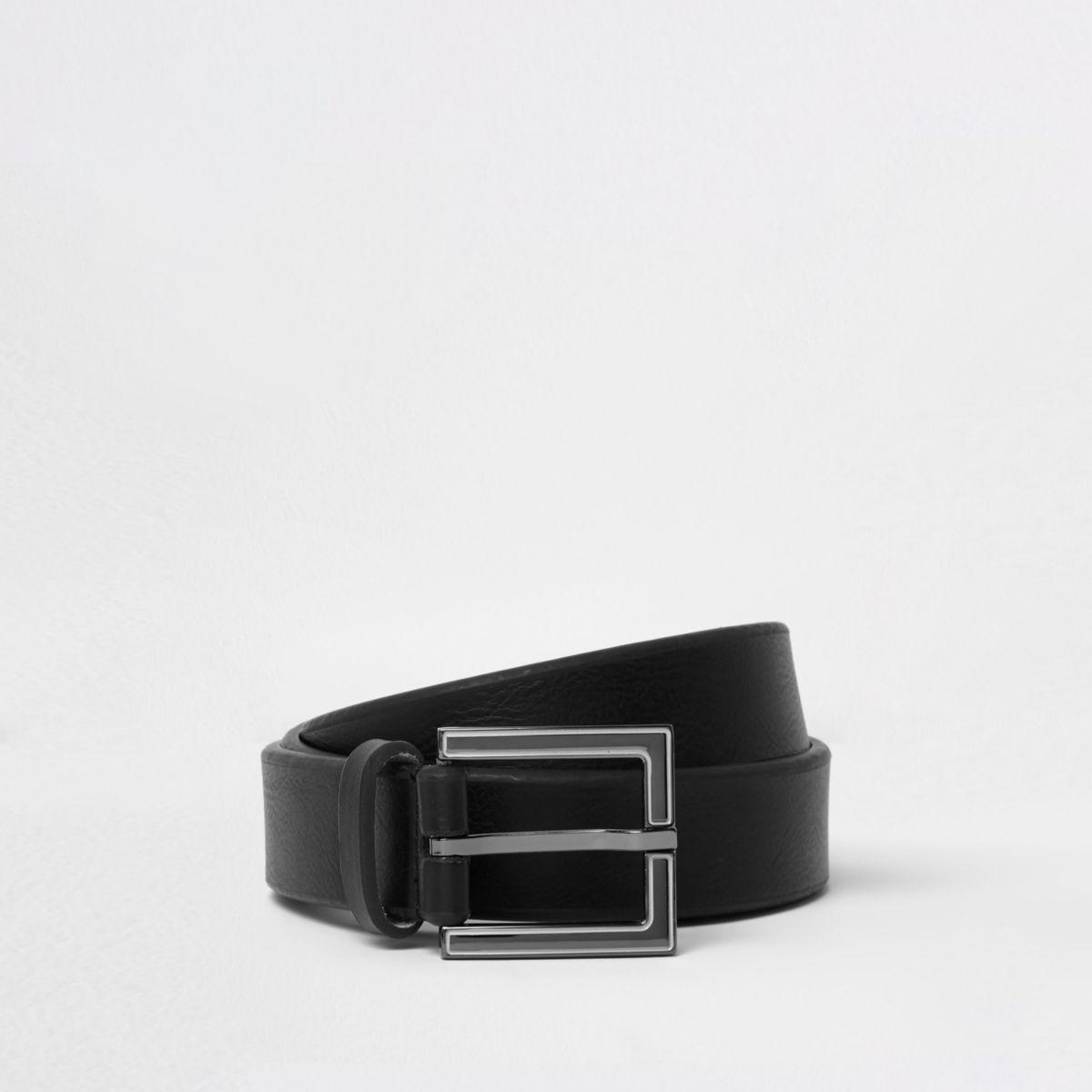 Zwarte riem met emaillen vierkante gesp