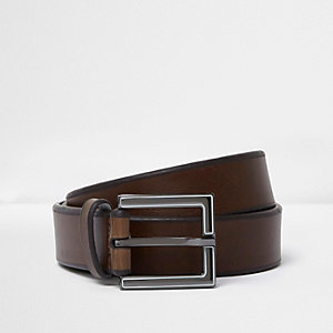 Dark brown enamel square buckle belt