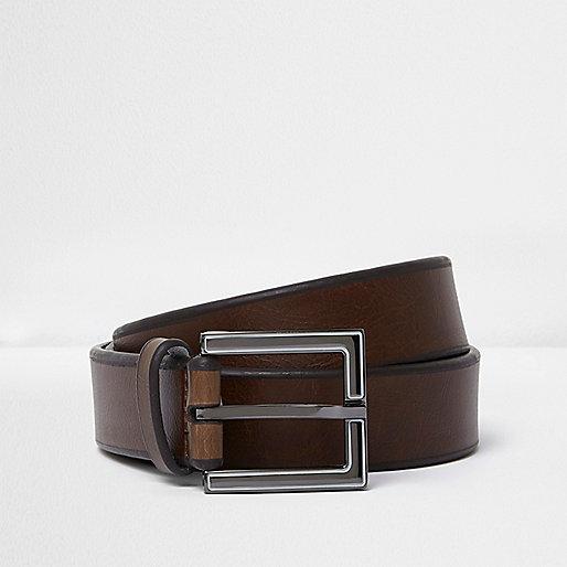Dark brown enamel square buckle belt