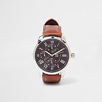 Brown leather look strap round face watch
