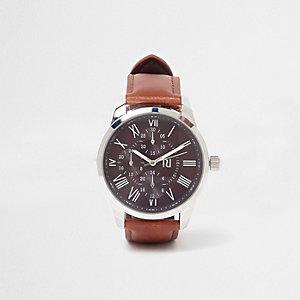 Montre à cadran rond avec bracelet en cuir synthétique marron