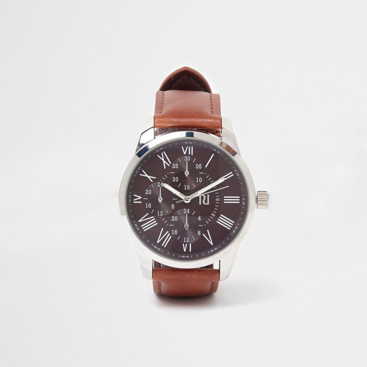Braune, runde Armbanduhr im Leder-Look