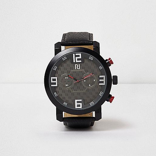 Black sporty round watch