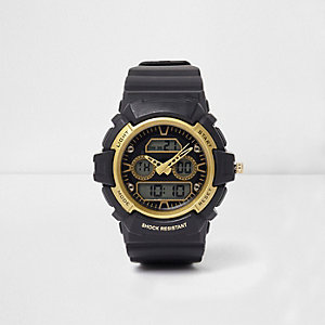 Black and yellow shock resistant watch