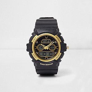 Stoßfeste Armbanduhr in Schwarz und Gelb