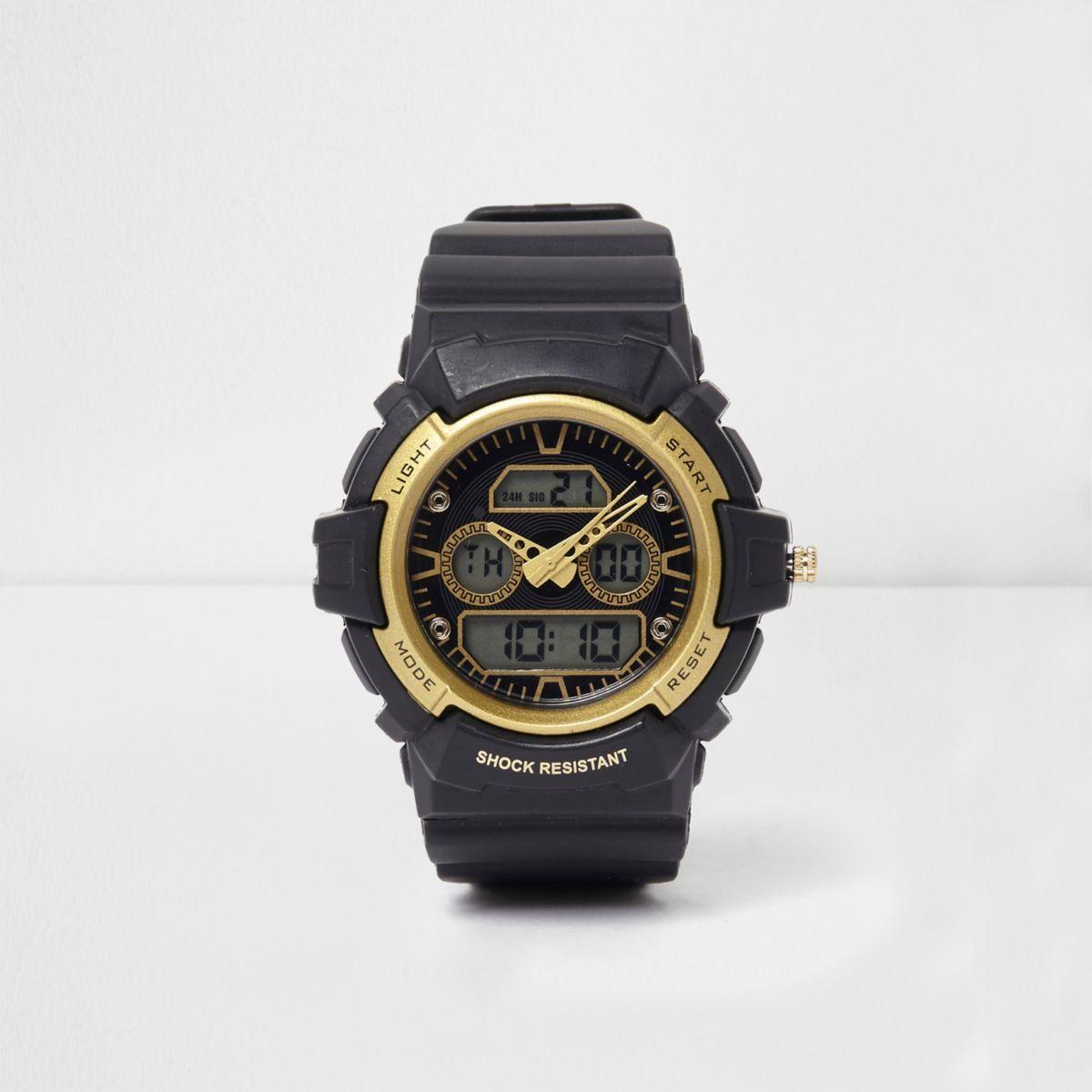 Blauw met geel schokbestendig horloge
