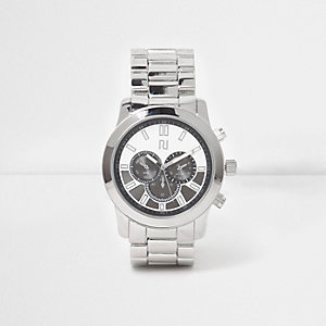 Silver tone chain link strap round face watch