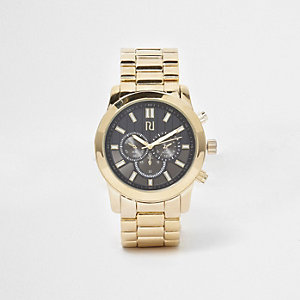 Gold tone chain link strap black face watch