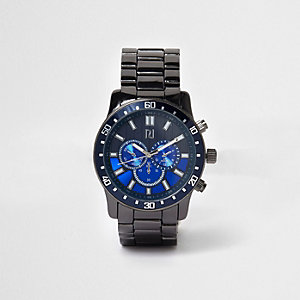 Dunkelgraue Armbanduhr mit Metallarmband