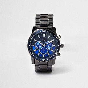 Montre à cadran contrastant et bracelet métallique à maillons gris foncé