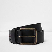 Black square buckle jeans belt