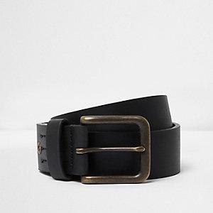 Zwarte jeansriem met vierkante gesp