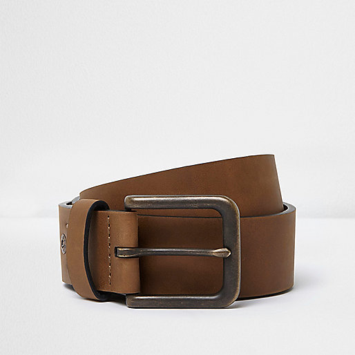Tan brown square buckle jeans belt