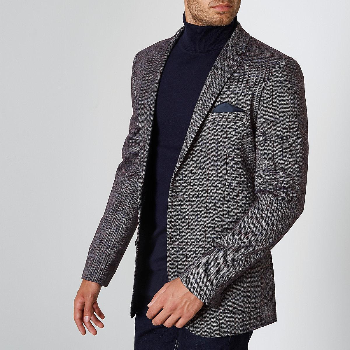 Dark grey herringbone check skinny blazer