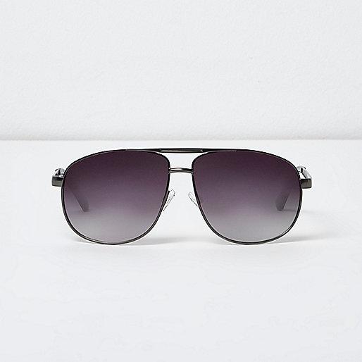 Grey gunmetal aviator sunglasses