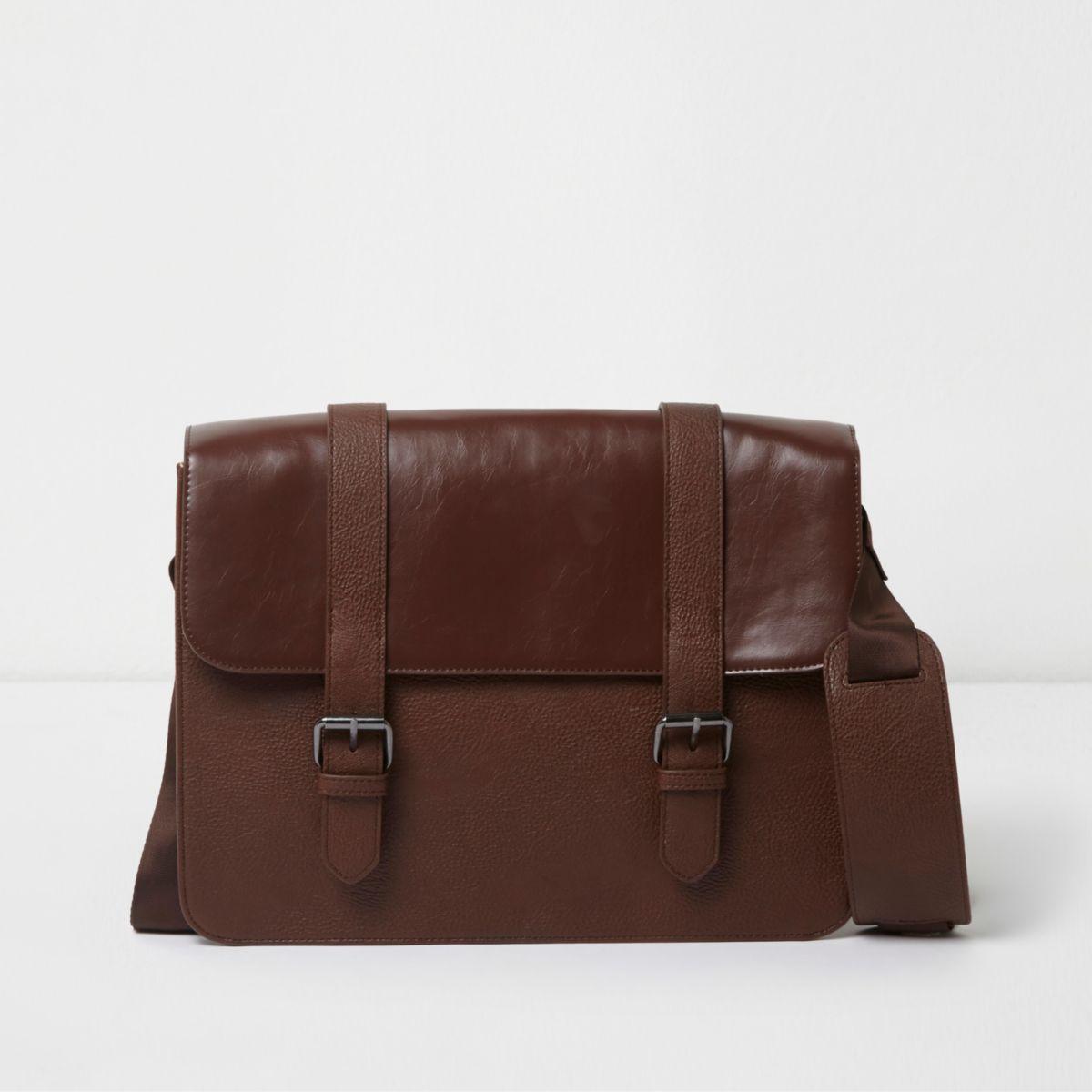 Tan brown cross body satchel bag