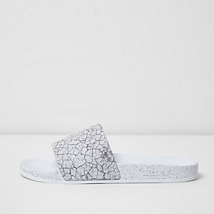 White Slydes cracked print sliders