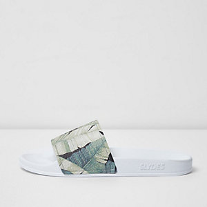 White Slydes jungle leaf print sliders