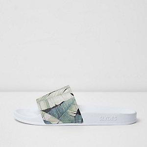 Slydes – Nu-pieds à imprimé feuille jungle blancs