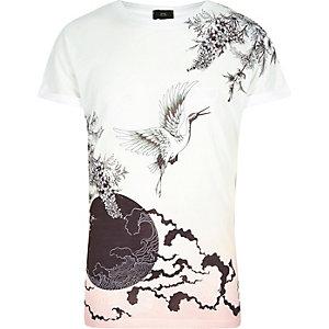 T-shirt imprimé oriental blanc à manches courtes