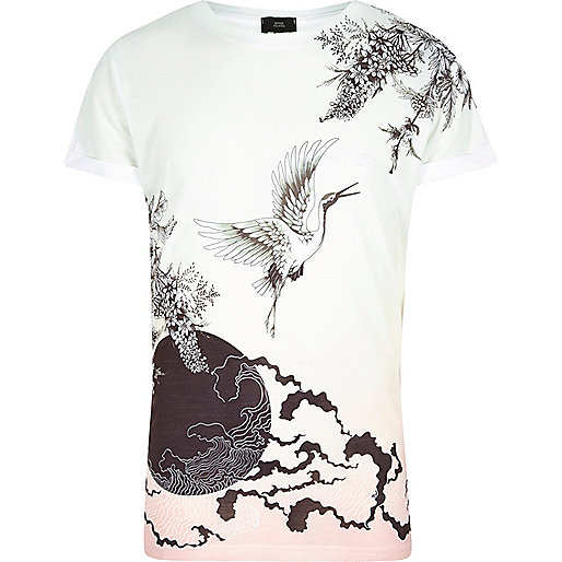 White oriental print short sleeve T-shirt