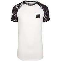 White marble raglan sleeve muscle fit T-shirt