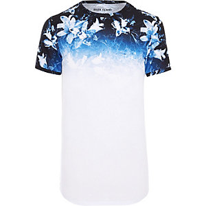 White floral fade muscle fit longline T-shirt