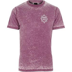 T-shirt slim imprimé «Hope» violet effet usé