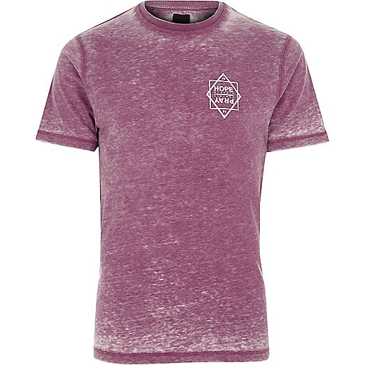 Purple burnout 'hope' print slim fit T-shirt