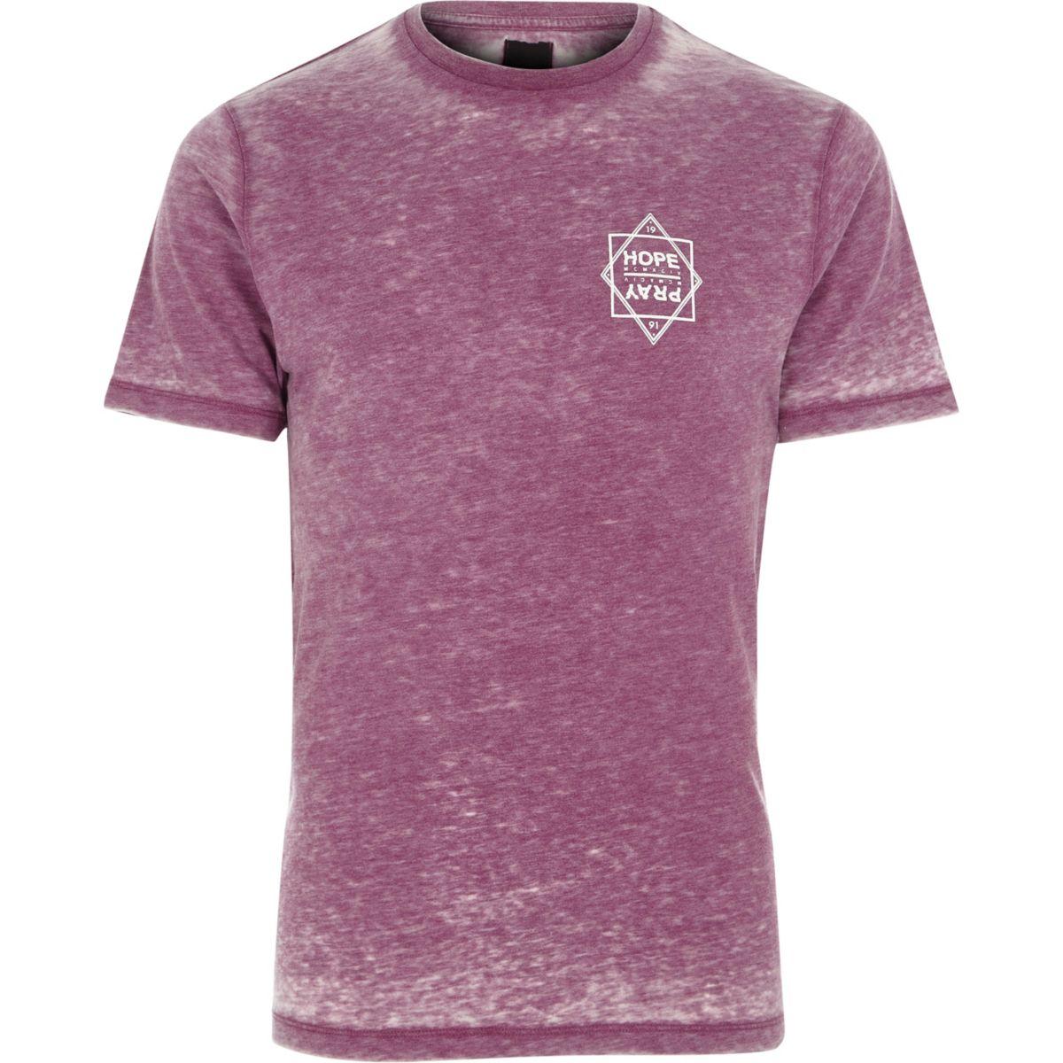 Purple burnout 'hope' print slim fit T-shirt