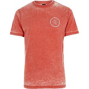 T-shirt slim «Revolution» rouge effet usé