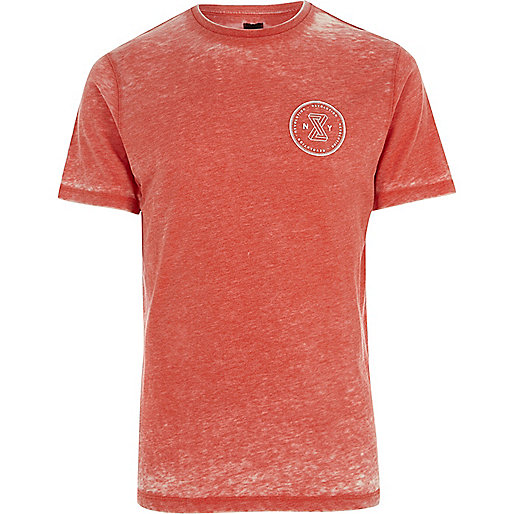Red burnout 'revolution' slim fit T-shirt