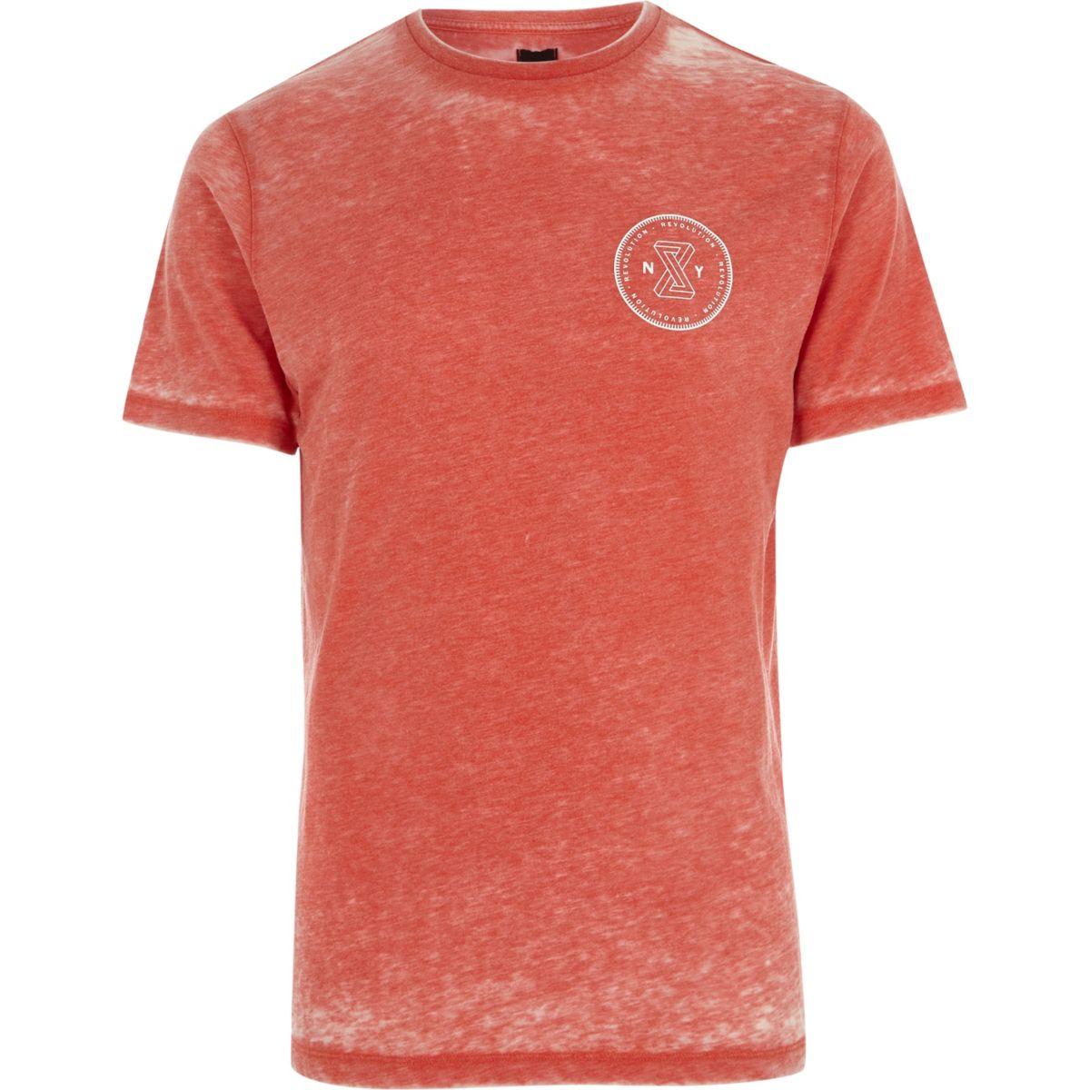 Red burnout 'revolution' slim fit T-shirt