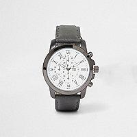 Montre à cadran rond avec bracelet en cuir synthétique gris