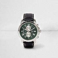 Montre à cadran vert avec bracelet en cuir synthétique noir