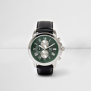 Black leather look strap green face watch