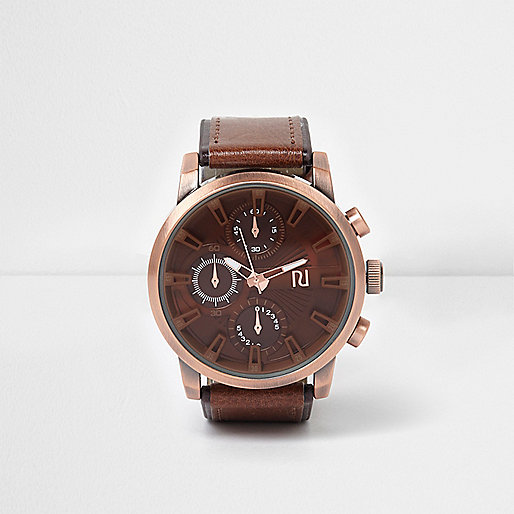 Brown copper look round face watch