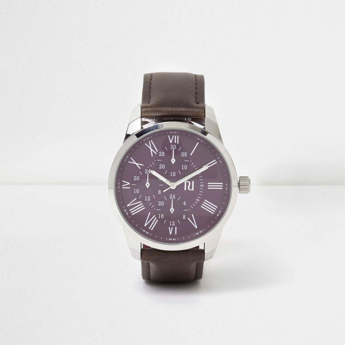 Brown strap purple round face watch
