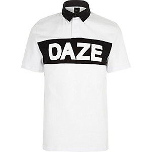 White 'daze' print slim fit rugby polo shirt