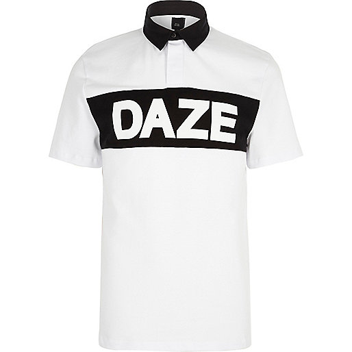 White 'daze' print slim fit rugby polo shirt