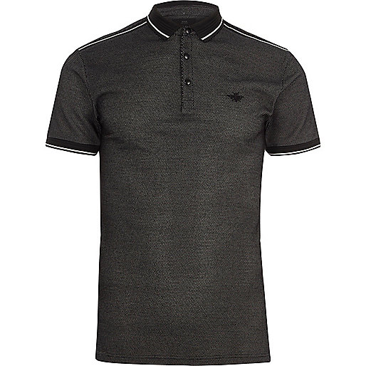 Black tipped muscle fit polo shirt