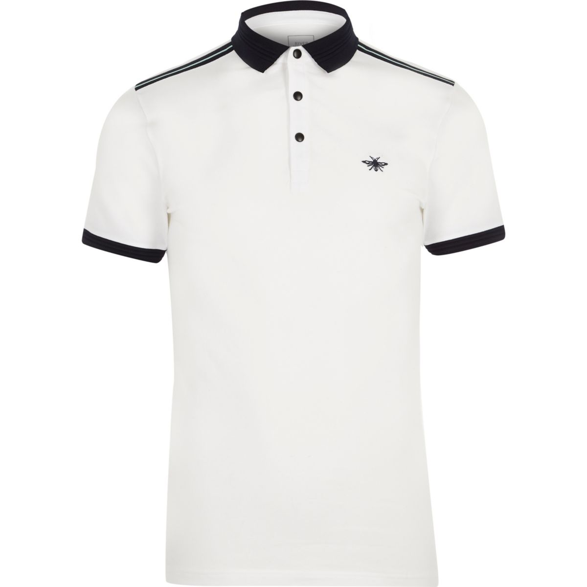 White short sleeve muscle fit polo shirt