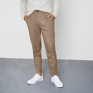 Camel slim fit pleated smart trousers